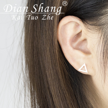 DIANSHANGKAITUOZHE 10pairs 2016 Stainless Steel Jewelry Empty Triangle Christmas Gift Stud Earrings Silver Gold Color Oorbellen