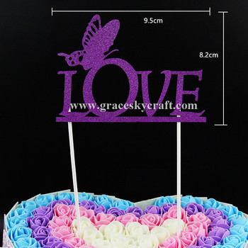 10pcs Glitter paper Love script butterfly Wedding Cakes Toppers Birthday baby shower Party Favors cupcake picks