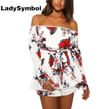 LadySymbol Off Shoulder Lace Floral Print Elegant Women Jumpsuit Romper Long Sleeve Summer Casual Beach Playsuit Women Overalls