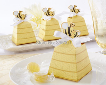"Birthday party candy box--Cute Type ""Sweet as Can Bee!"" Mom and Baby Beehive Baby Shower favor box wedding box 50pcs/lot"