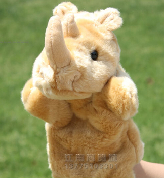 Story toy 1pc 26cm cartoon rhinoceros zoo hand puppets plush sleeping pacify educational game perform stuffed baby infant gift
